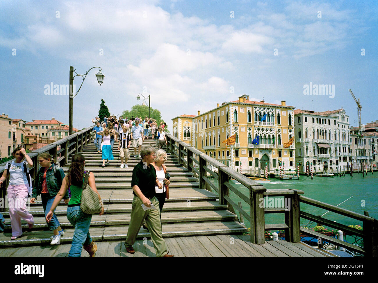 The Accademia wooden bridge over the Grand Canal in Venice - Stock Image
