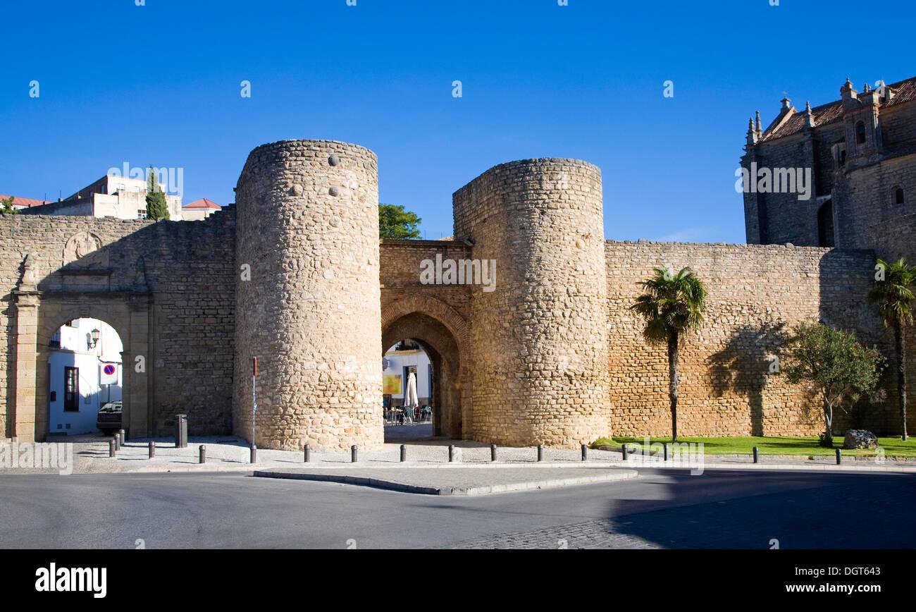 Puerta de Almocabar  fortifications historic city walls Ronda, Malaga province, Spain - Stock Image