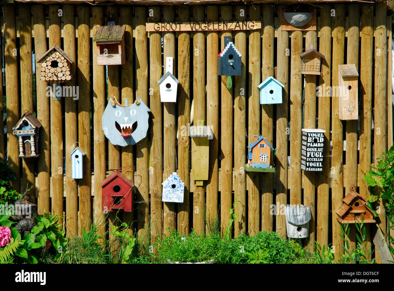 Birdhouses on a wall, Reeuwijk, Zuid-Holland, South Holland, The Netherlands, Europe - Stock Image