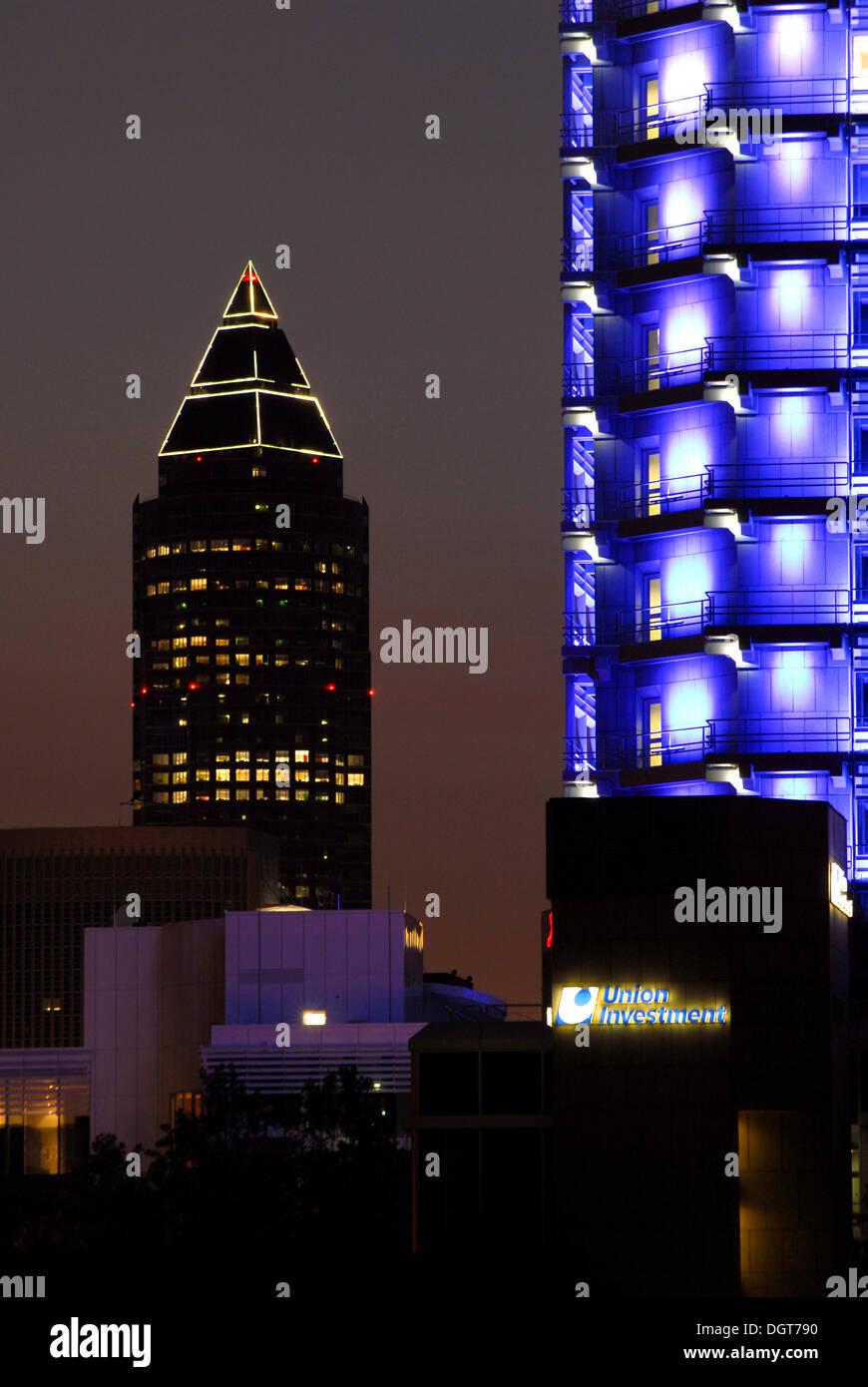 Messeturm fair tower by architect Helmut Jahn, Union Investment office building illuminated in blue, Bahnhofsviertel Stock Photo