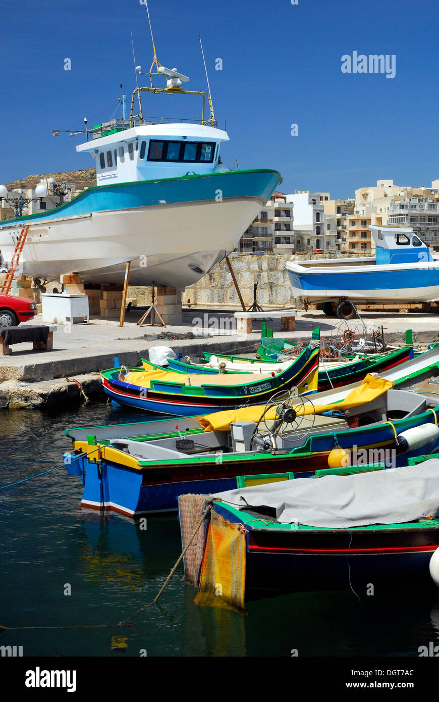 Fishing boats in the harbour, Marsalforn Bay, Marsalforn, Island of Gozo, Malta, Mediterranean, Europe Stock Photo
