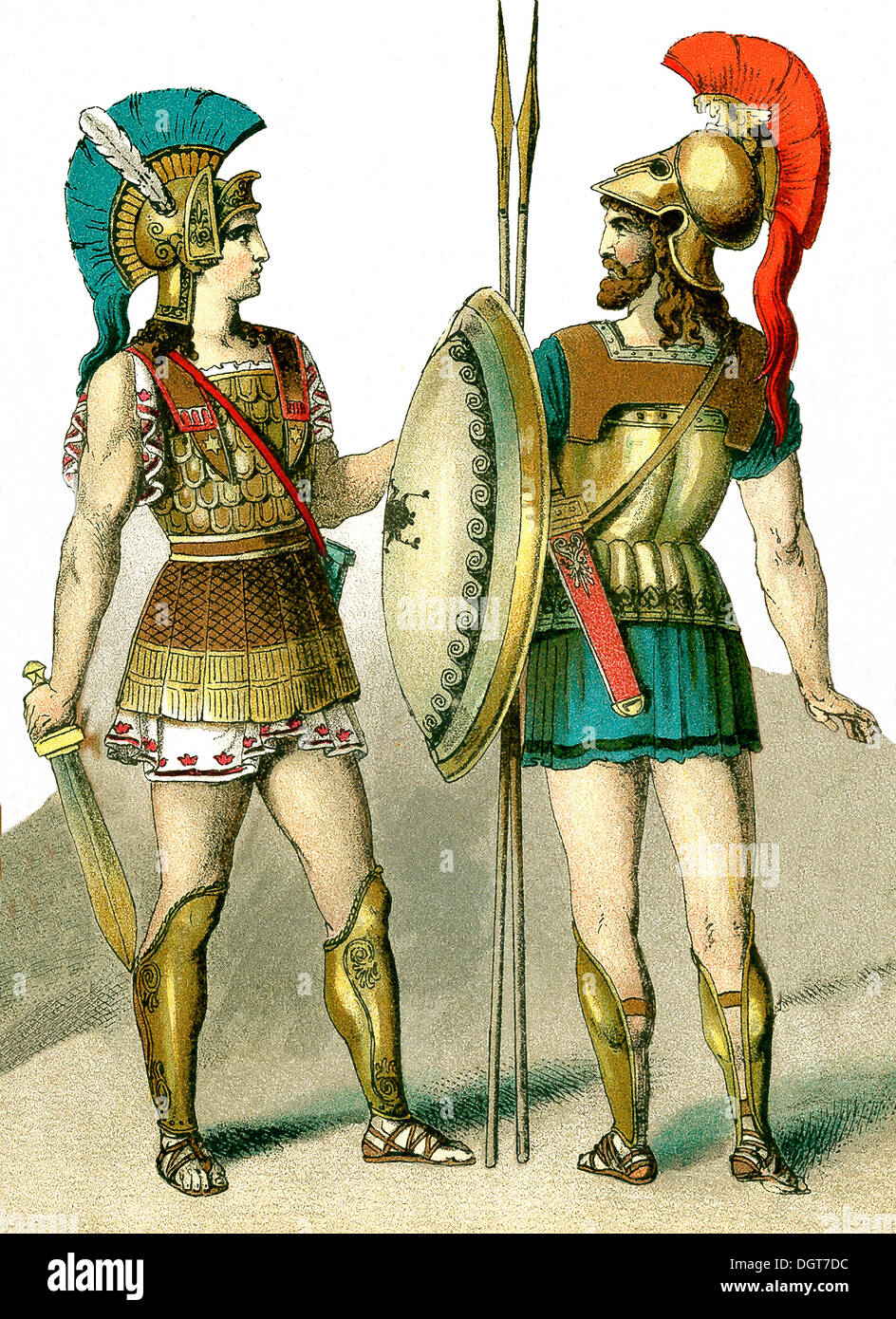 The illustration, which dates to 1882, depicts two ancient Greek warriors. - Stock Image