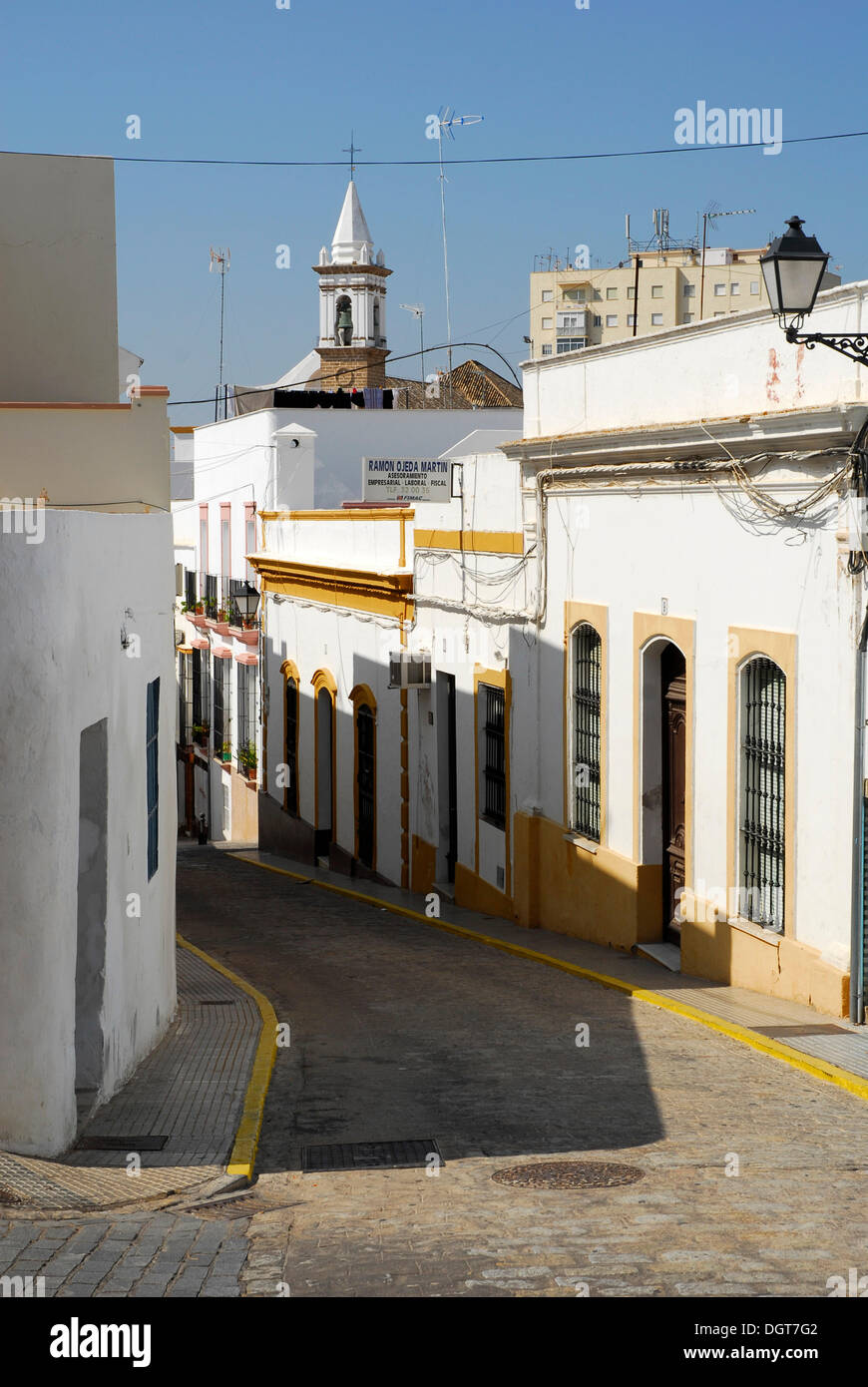 Street in the city centre of Ayamonte, Costa de la Luz, Huelva region, Andalusia, Spain, Europe - Stock Image