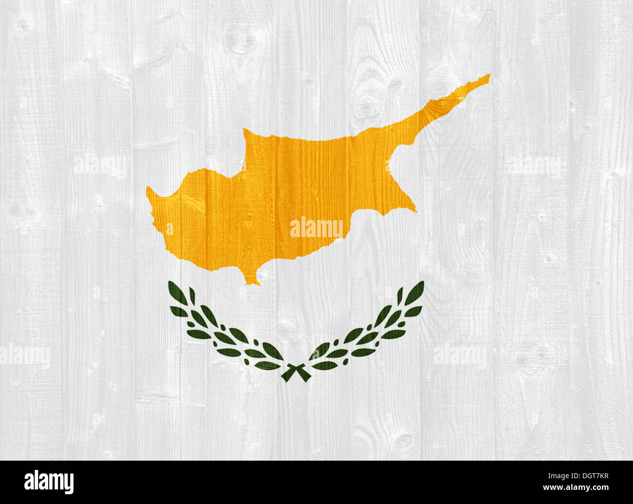 gorgeous Cyprus flag painted on a wood plank texture - Stock Image