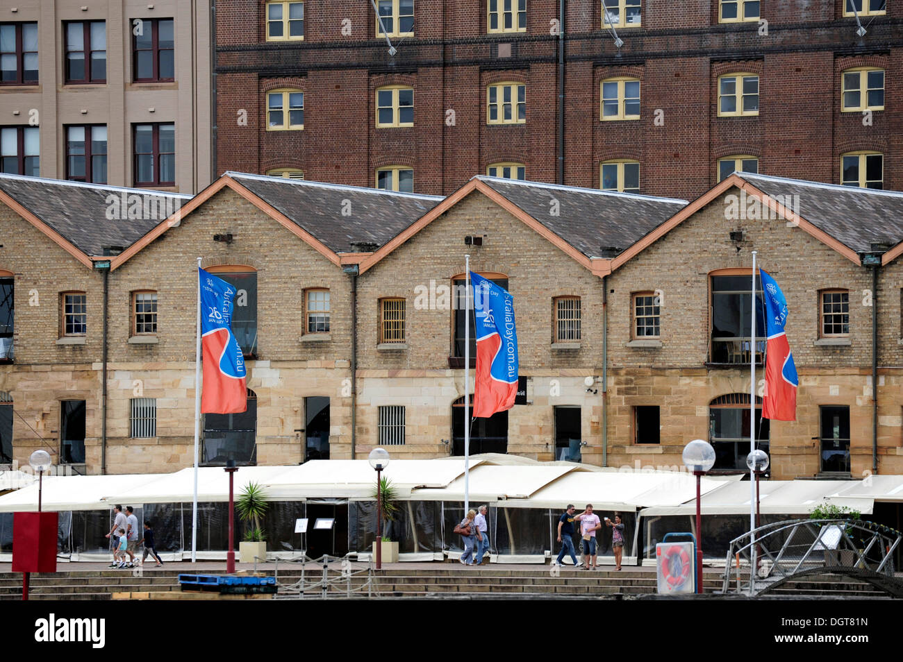 Circular Quay Wharves, waterfront at Campbell's Storehouse, The Rocks, Sydney Harbour, Sydney, New South Wales, NSW, Australia - Stock Image