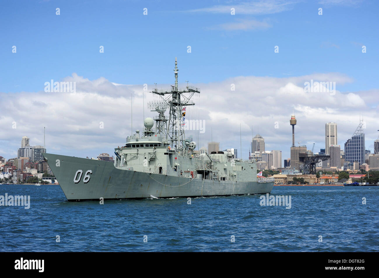 Warship of the Australian Navy in Sydney Harbour, Sydney, New South Wales, NSW, Australia - Stock Image