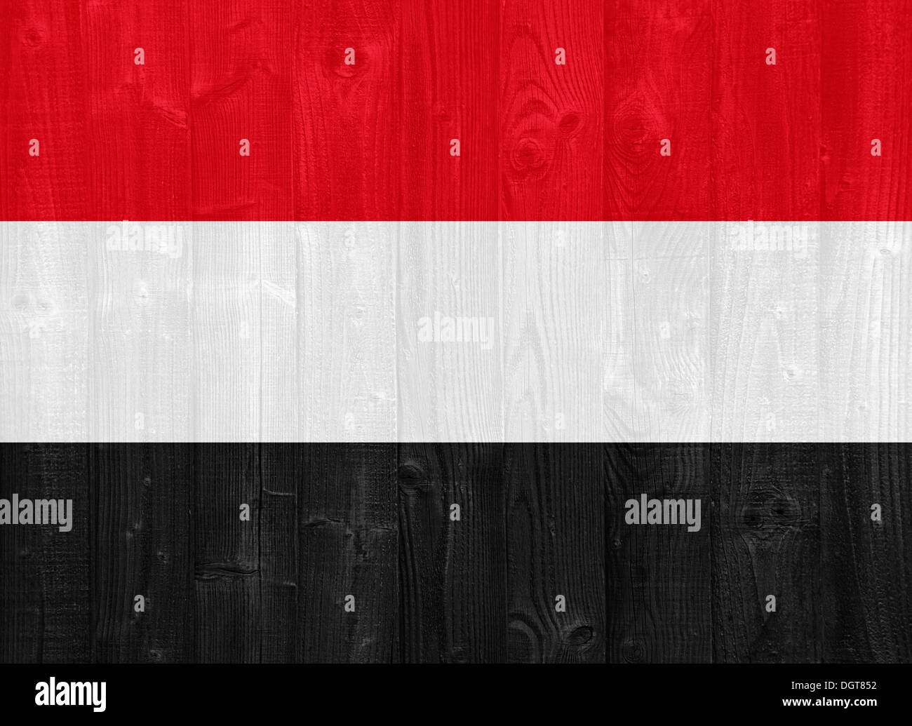 gorgeous Yemen flag painted on a wood plank texture Stock Photo