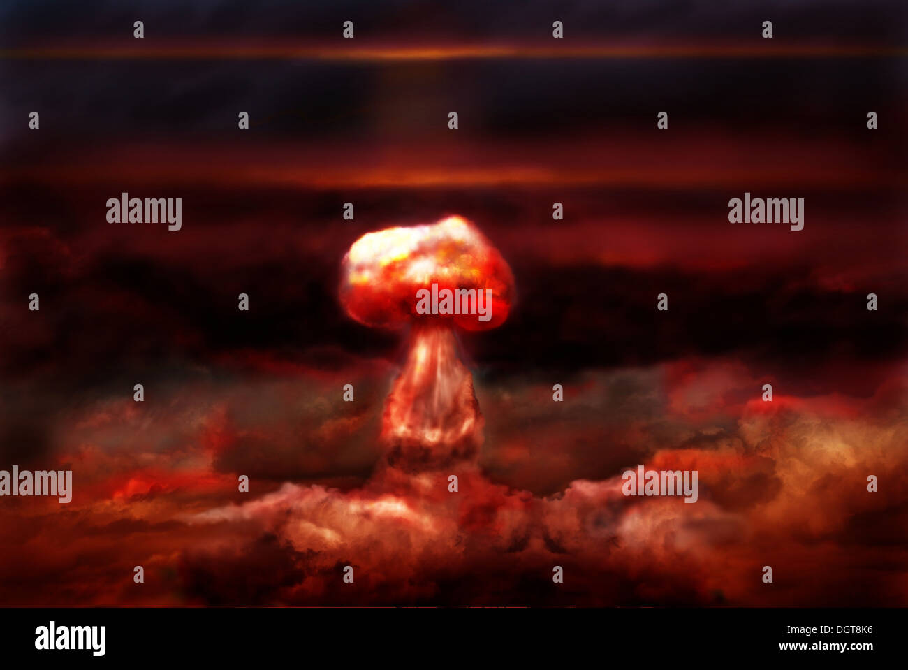 explosion of great nuclear bomb on background of clouds - Stock Image