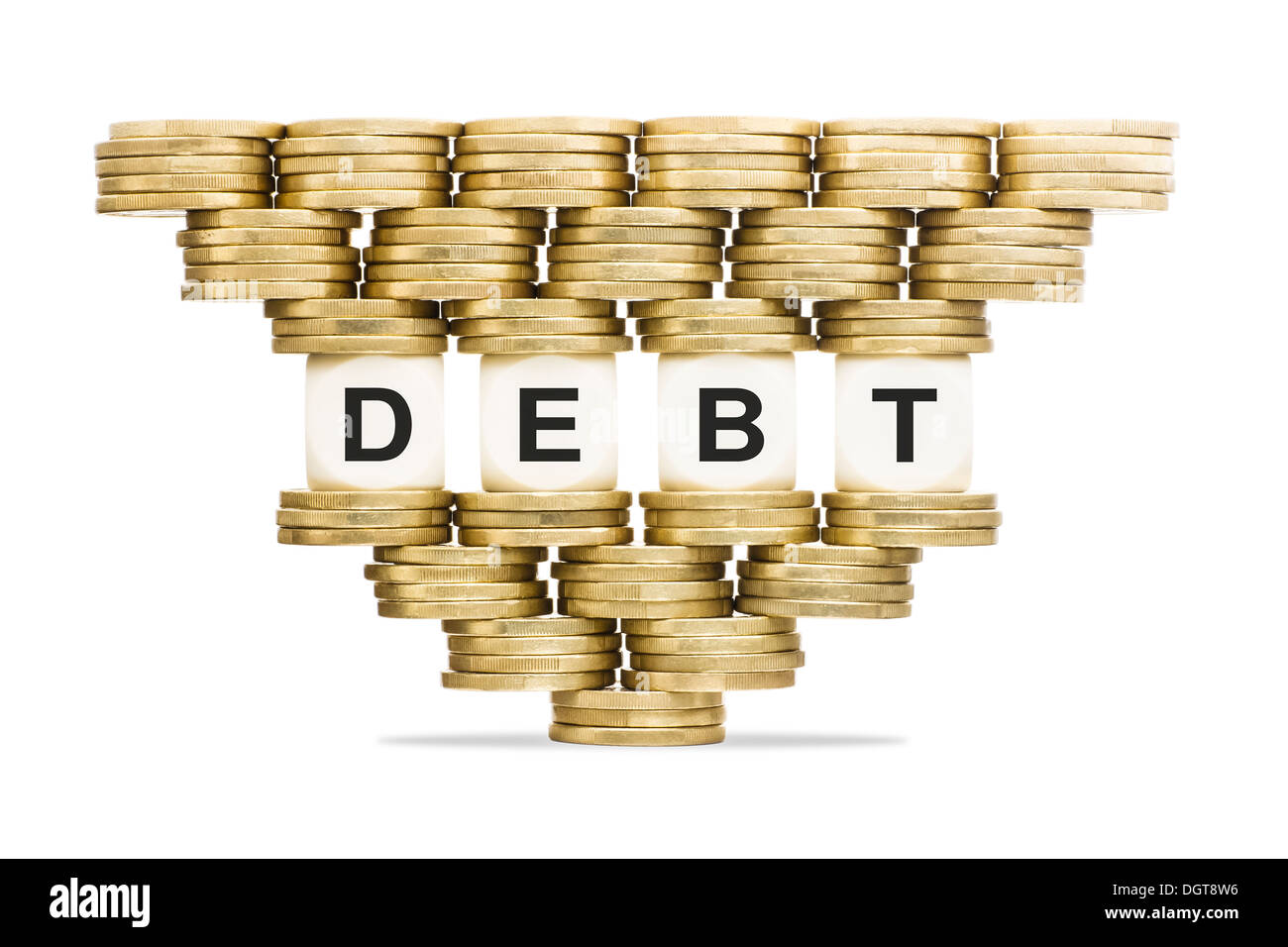 Debt Management Word DEBT on Unstable Stack of Gold Coins - Stock Image