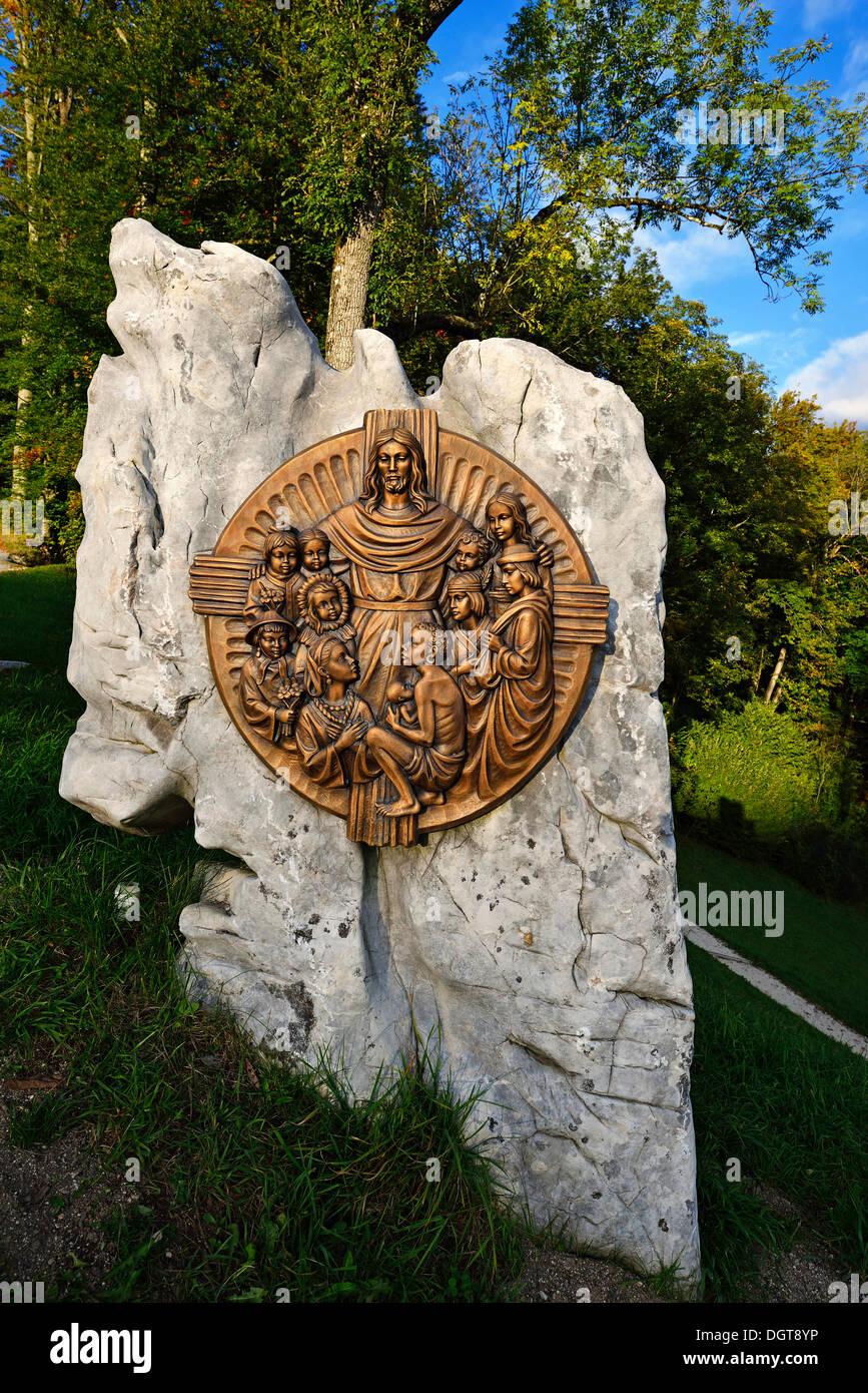 Bronze plaque at the Chapel of the Beatitudes at Mitterweinfeld, Lockstein Mountain, Berchtesgaden, Upper Bavaria, Bavaria - Stock Image