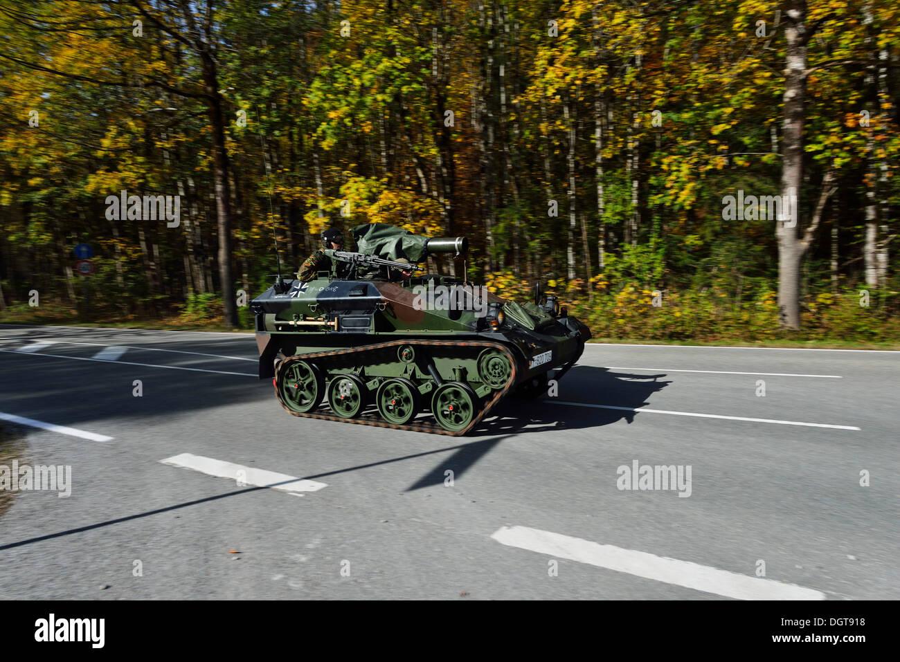 Tanks of the mountain infantry during a manoeuvre, Reit im Winkl, Chiemgau region, Upper Bavaria, Bavaria - Stock Image