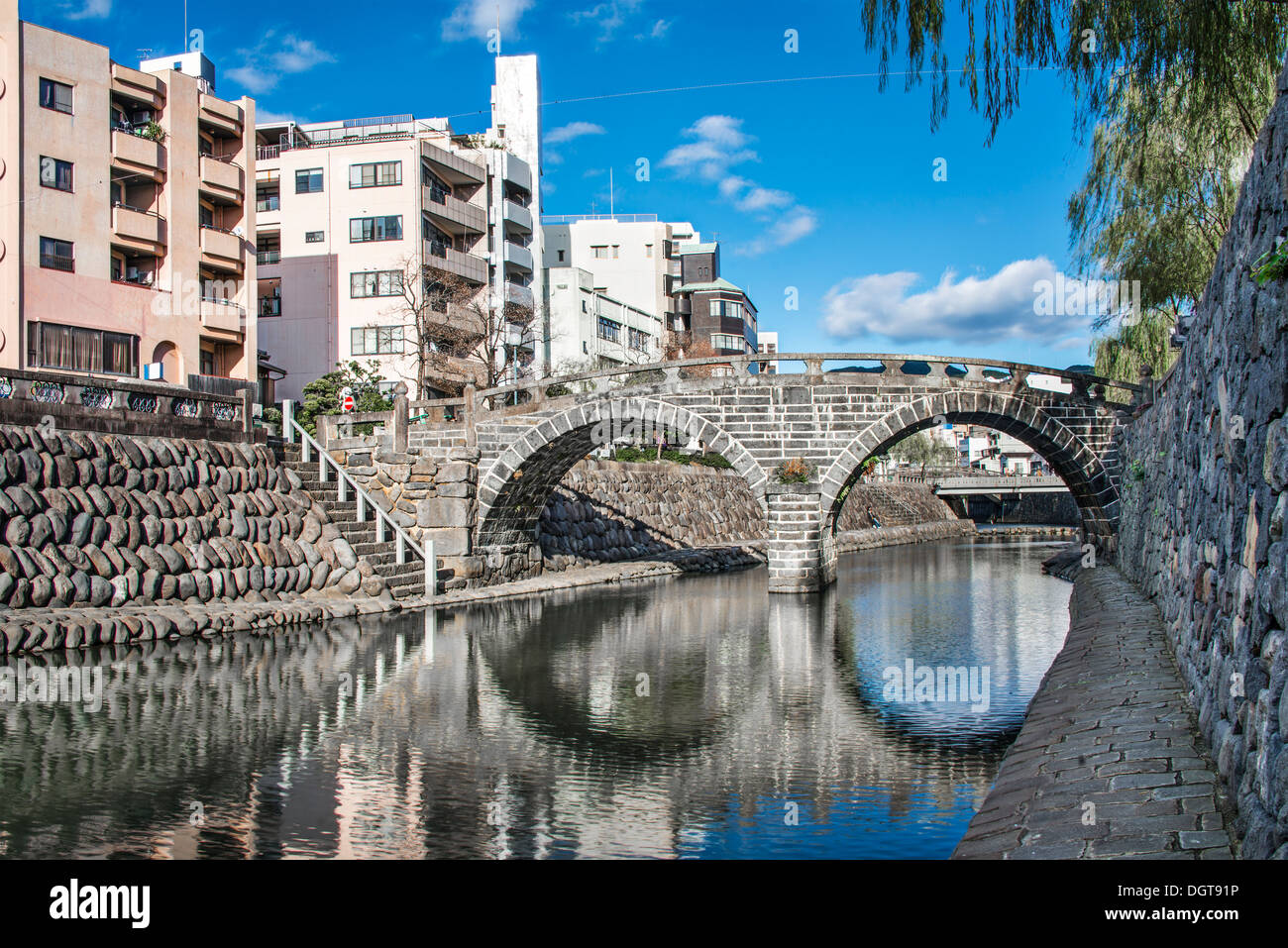 Nagasaki, Japan at Spectacles 'Megane' Bridge. - Stock Image