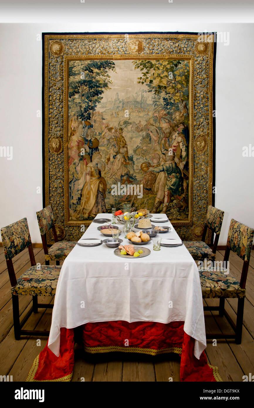 Historical dining room, Kronborg Castle, Elsinore, Denmark - Stock Image