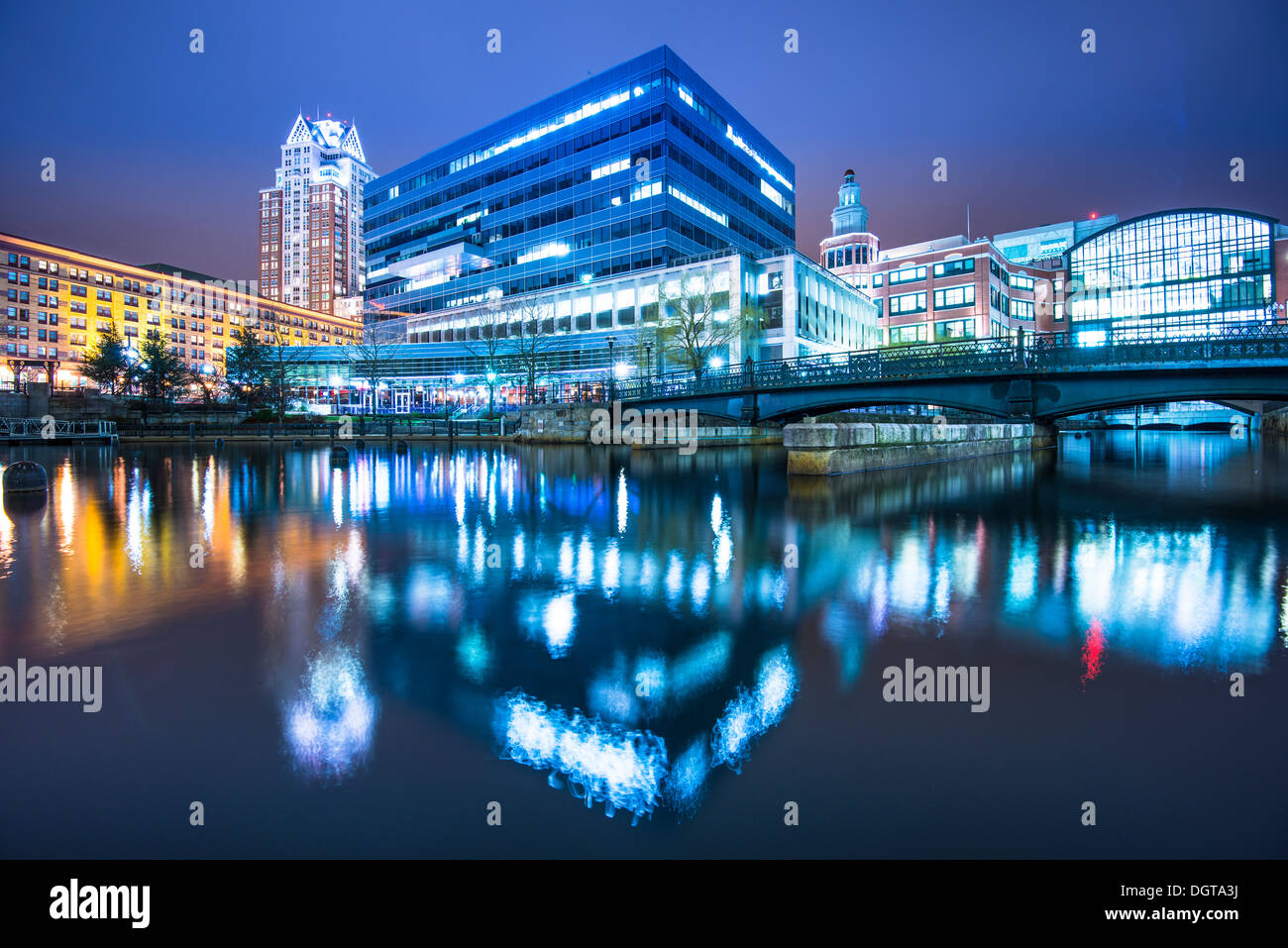 Providence, Rhode Island buildings at Waterplace Park. - Stock Image