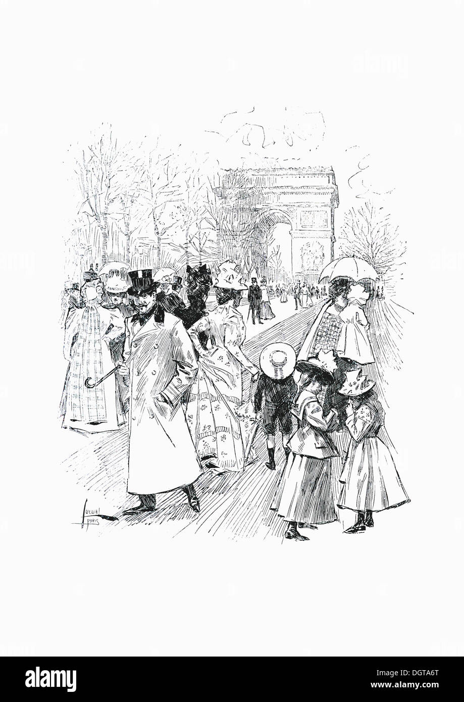 Woodcut 'A Spring Day in Paris, The Arc de Triomphe', yearbook 'Moderne Kunst in Meisterholzschnitten', German for 'modern art - Stock Image