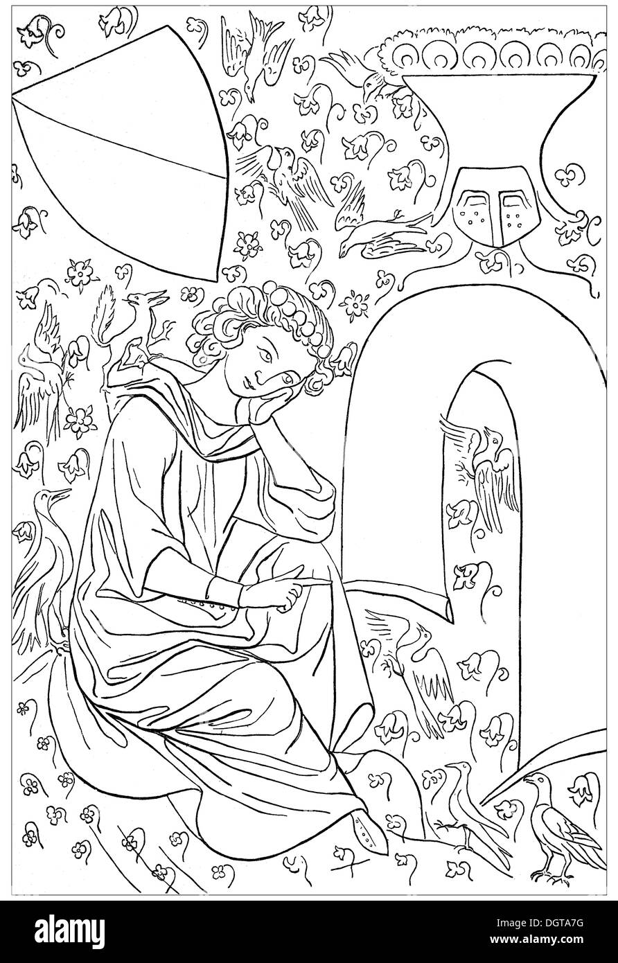 Heinrich von Beldeke, after the Parisian or Manesse Codex, historical image from History of German Literature from 1885 - Stock Image