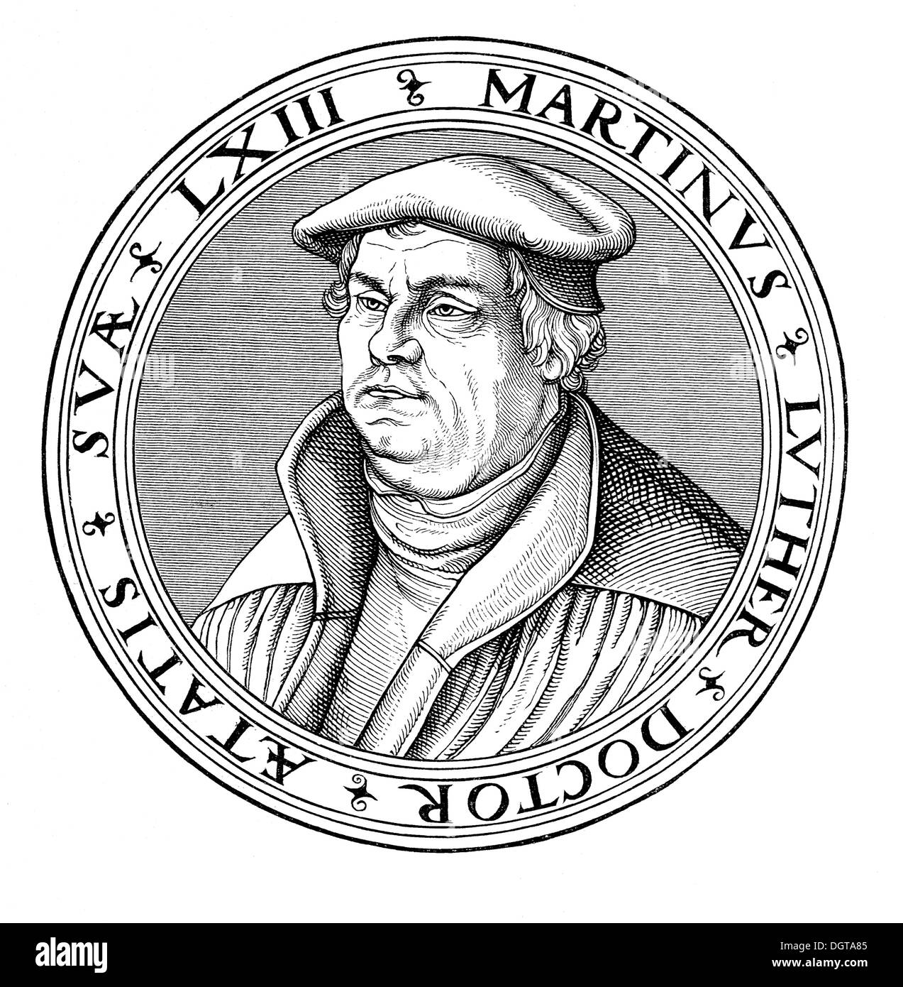 Portrait of Martin Luther in his 63rd year, old woodcut from Cranach's School, historical image from History of German - Stock Image