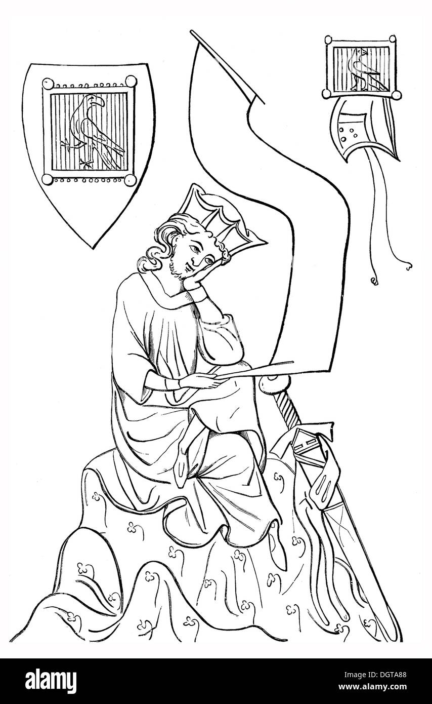 Walther von der Vogelweide, after the Parisian or Manesse Codex, historical image from History of German Literature from 1885 - Stock Image