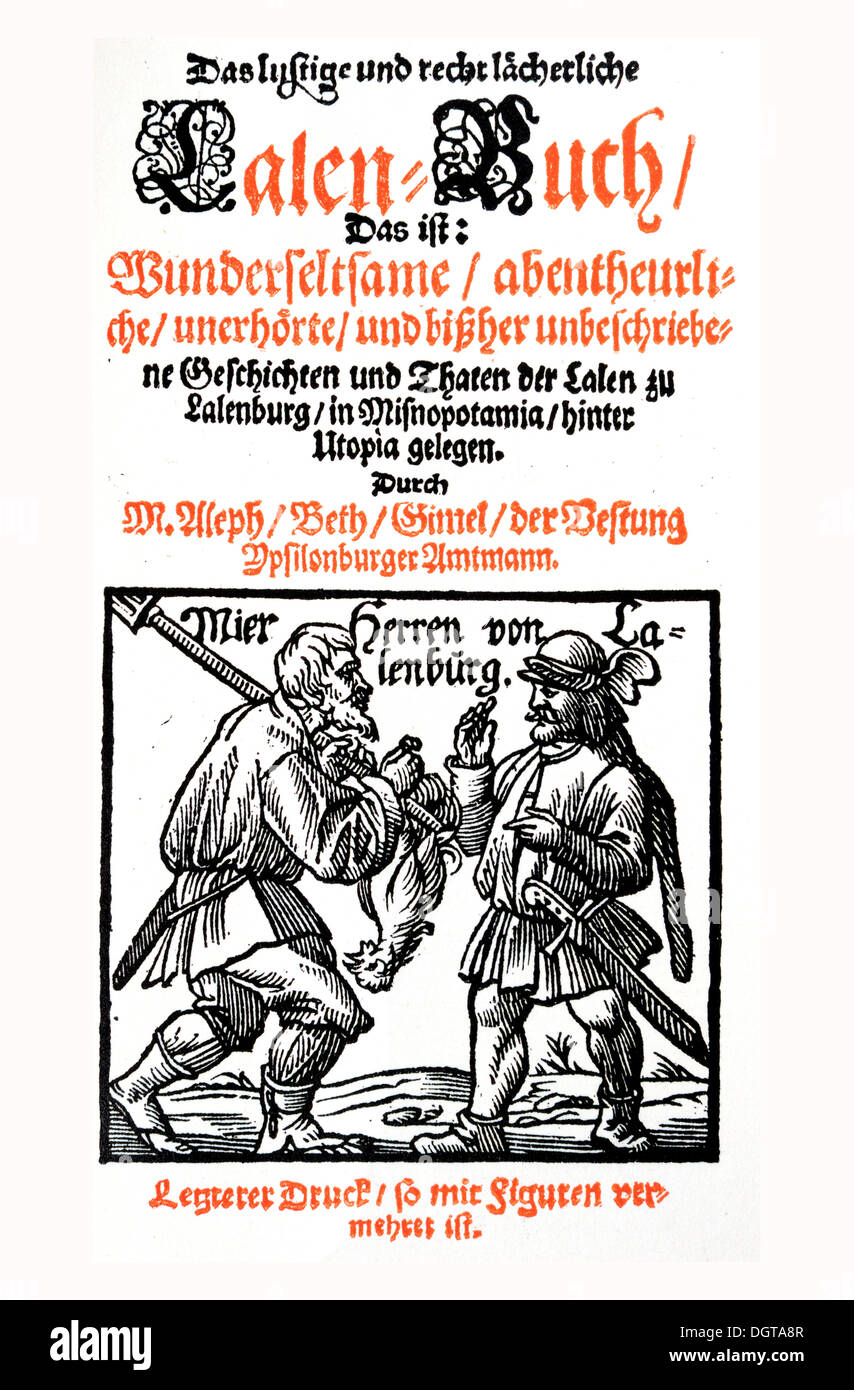 Title of an old print of the Lalenbuch book, historic depiction in Deutsche Literaturgeschichte, a history of German literature - Stock Image