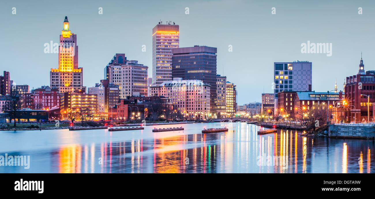 Providence, Rhode Island downtown cityscape viewed from above the Providence River. - Stock Image