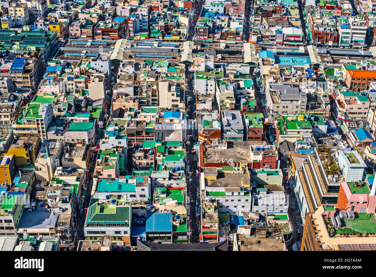 Rooftops in Busan, South Korea. - Stock Image