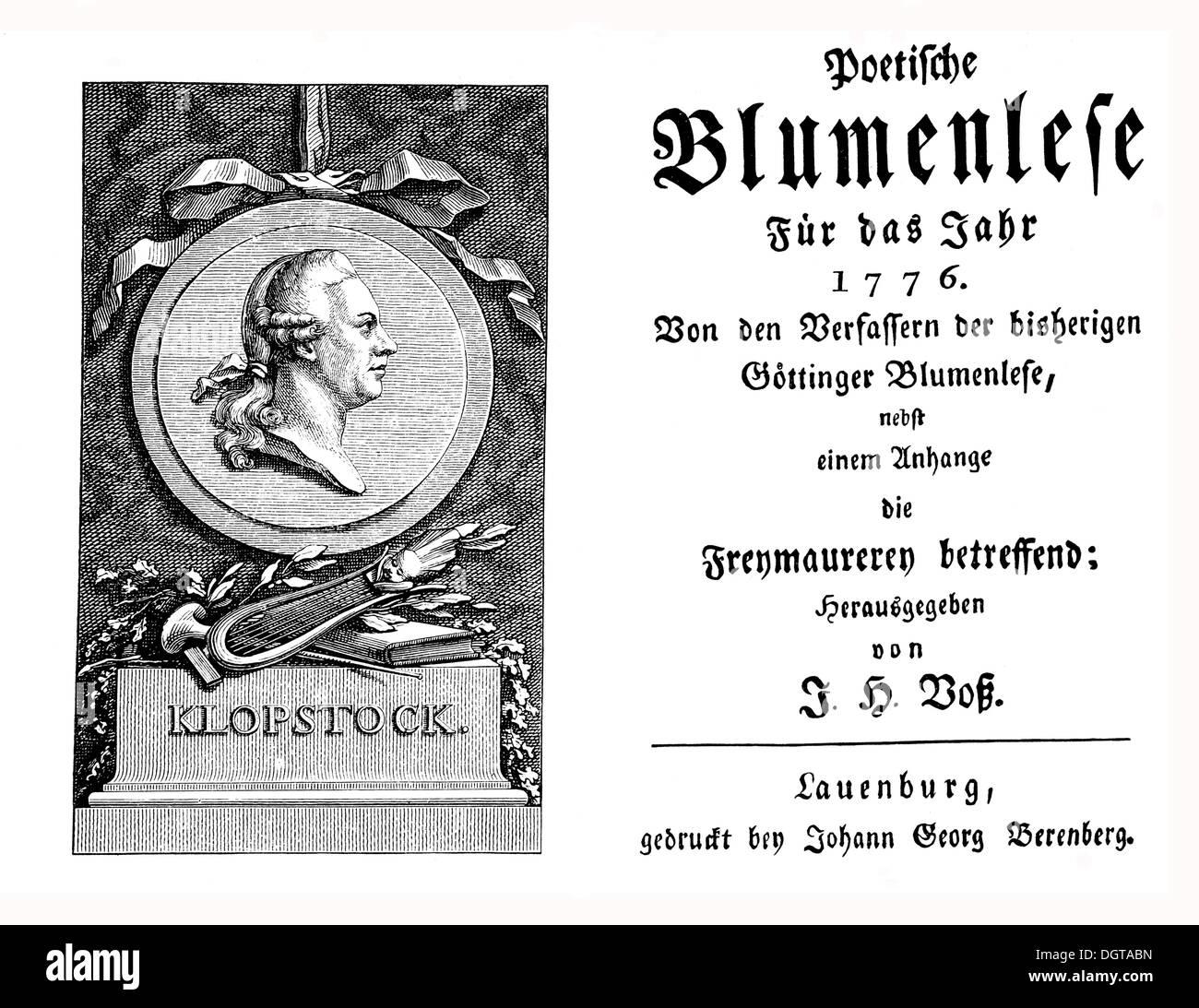 Frontispiece and cover of the Vossische Musenalmanachs almanac for 1776, historic depiction in Deutsche Literaturgeschichte - Stock Image