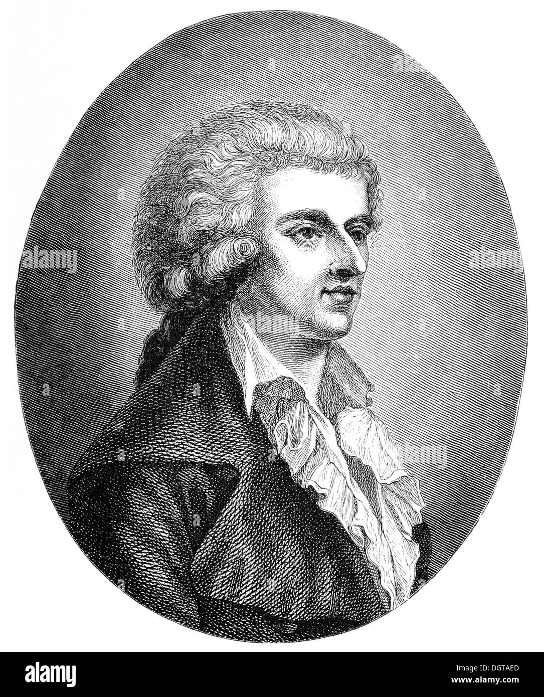 The young Schiller, after a drawing of his girlfriend Dora Stock in 1785, historical illustration in Deutsche - Stock Image