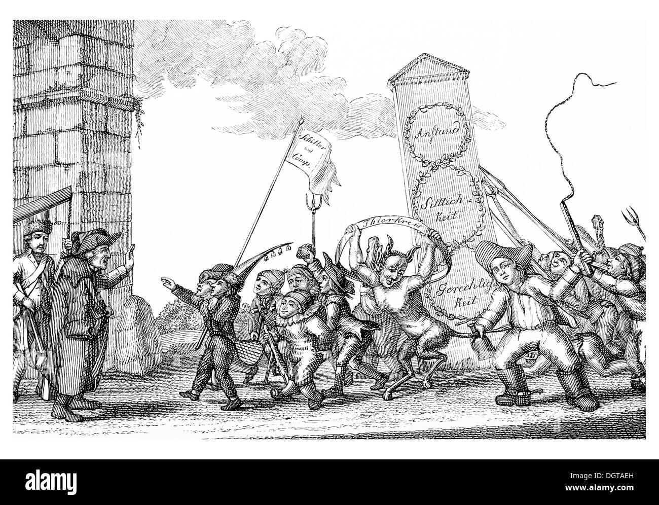 Satirical copperplate from the Xenienschelte, historical illustration in Deutsche Literaturgeschichte or German literature from - Stock Image