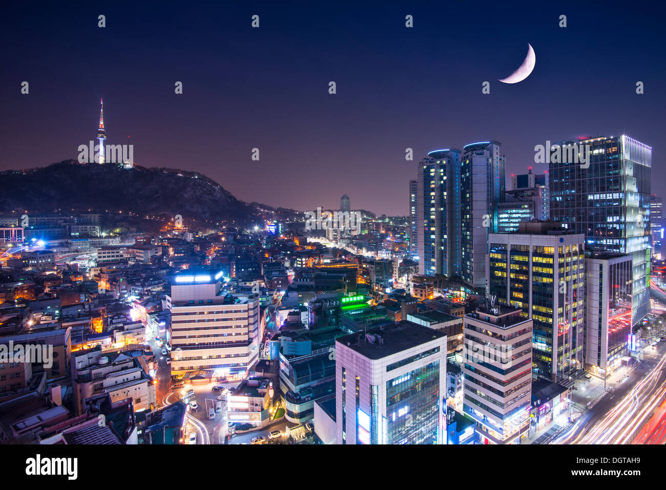 Seoul, South Korea with Namsan Mountain. - Stock Image