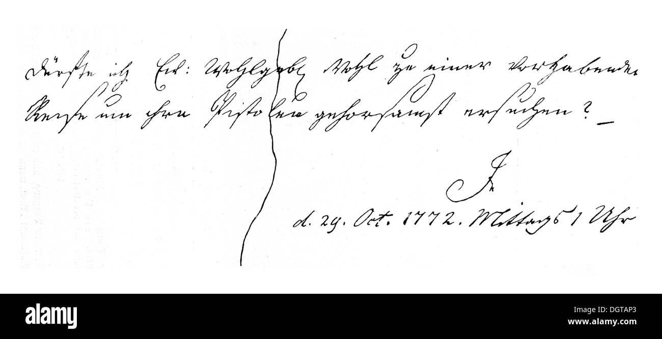 Billet of the young Jerusalem to Kaestner, in which he asks the latter for his guns for his intended suicide, historical - Stock Image