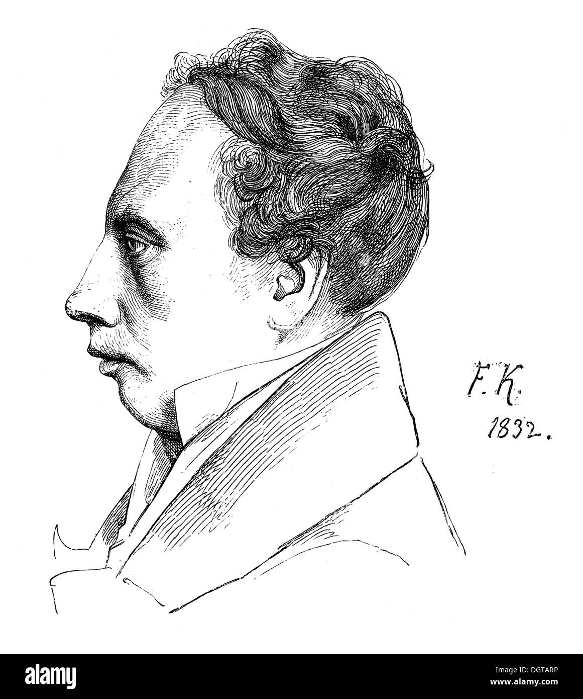 Ludwig Uhland in 1832, historic illustration from Deutsche Literaturgeschichte, a history of German literature from 1885 - Stock Image
