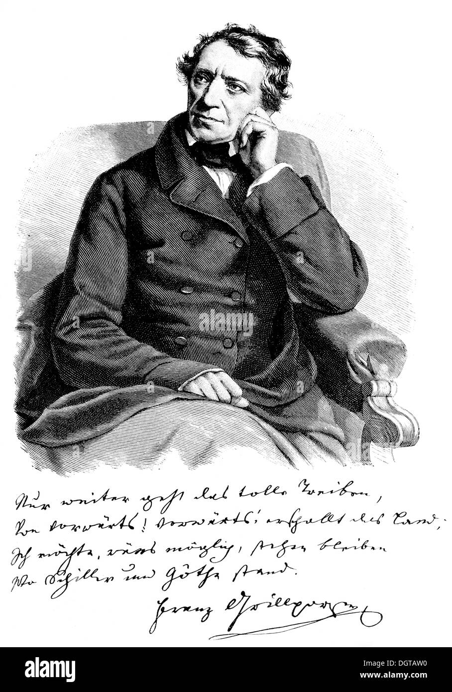 Franz Grillparzer, taken directly from life, 1858, historic illustration from History of German Literature from Stock Photo