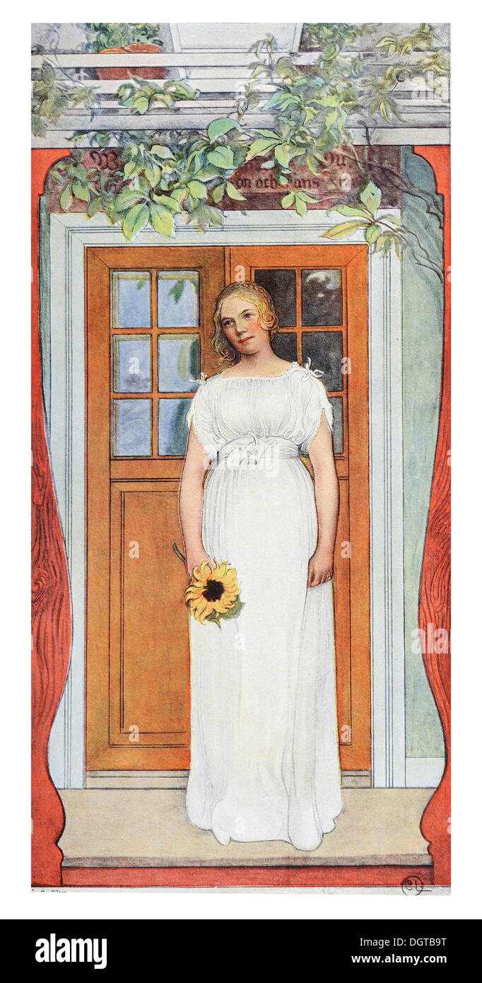 Eighteen years, illustration in The House in the Sun by Carl Larsson, 1917 - Stock Image