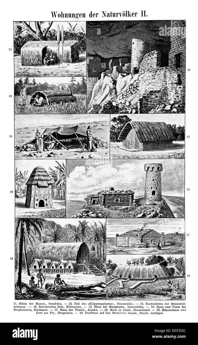Dwellings of primitive peoples II, illustration, Meyers Konversations-Lexikon encyclopedia, 1897 - Stock Image