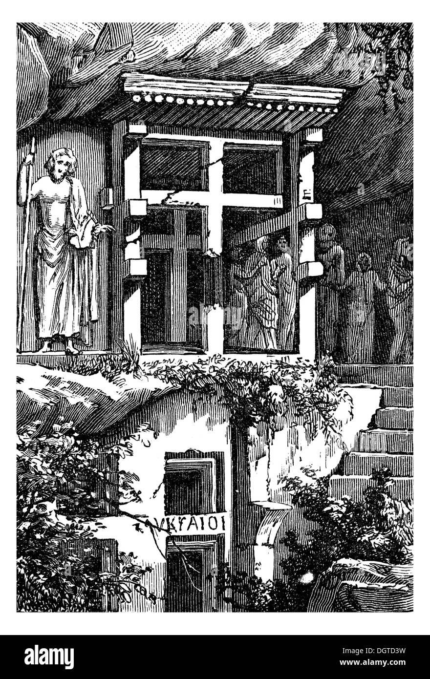 Lycian Tombs of Antiphellos, Asia Minor, about 400 BC to 300 AD, illustration, Meyers Konversations-Lexikon encyclopedia, 1897 - Stock Image