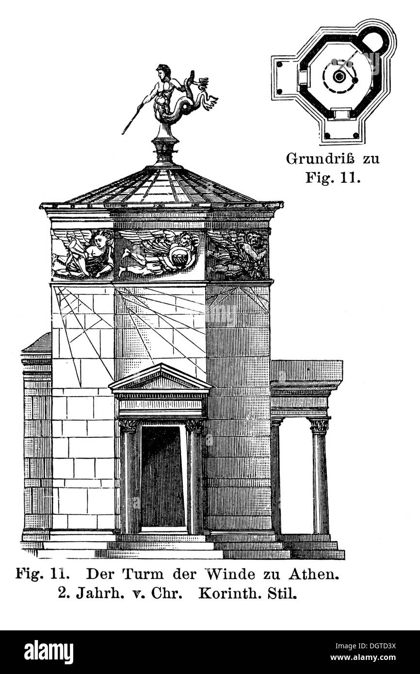 Tower of the Winds in Athens, 2nd century BC, Corinthian style, illustration, Meyers Konversations-Lexikon encyclopedia, 1897 - Stock Image