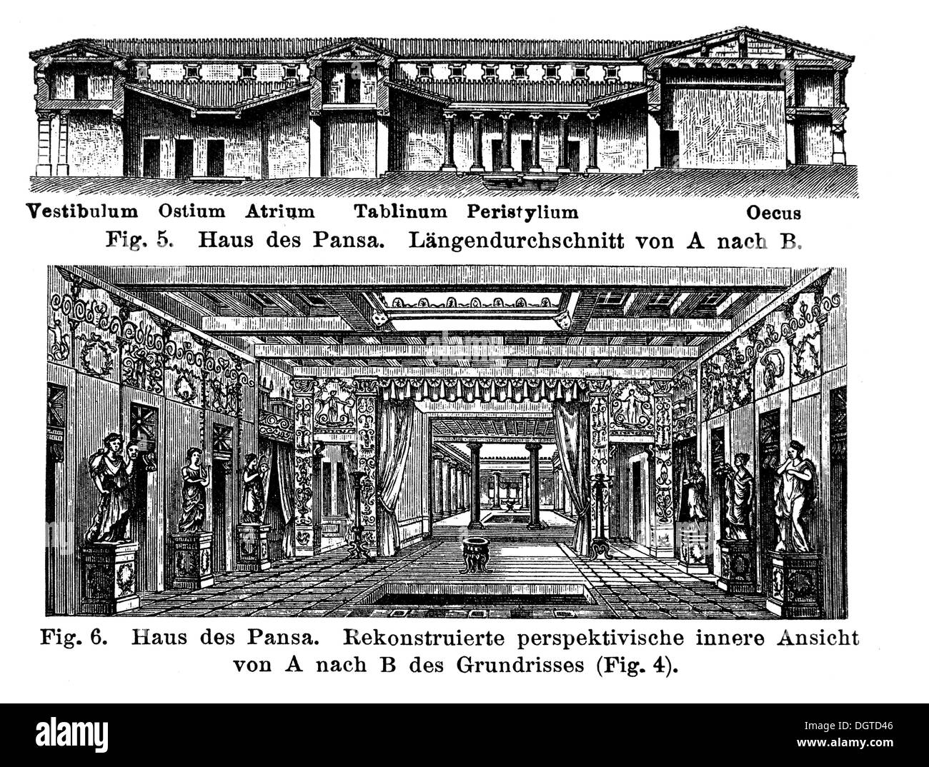 House of Pansa, illustration, Meyers Konversations-Lexikon encyclopedia, 1897 - Stock Image
