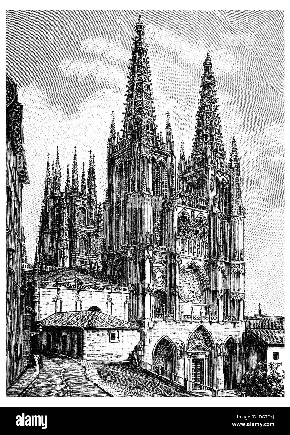 Burgos Cathedral, begun in 1221, completed from 1442 to 1487 by John of Cologne or Johann von Koeln, illustration, Meyers - Stock Image