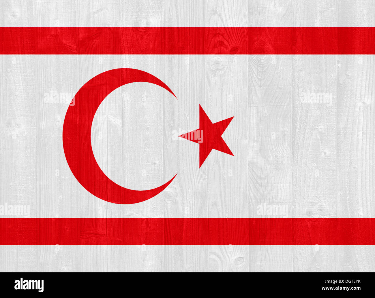 gorgeous Turkish Republic of Northern Cyprus flag painted on a wood plank texture - Stock Image