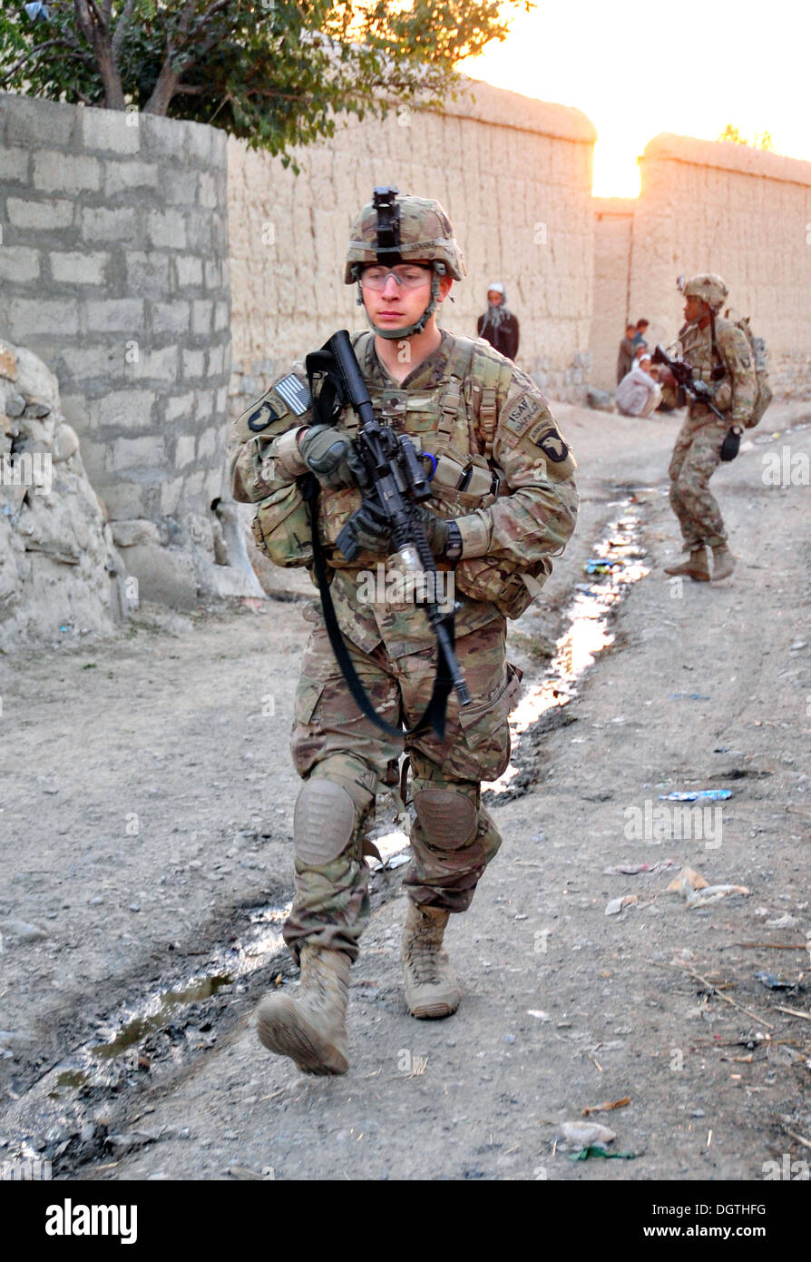 US Army Airborne soldiers during a patrol with Afghan Army forces