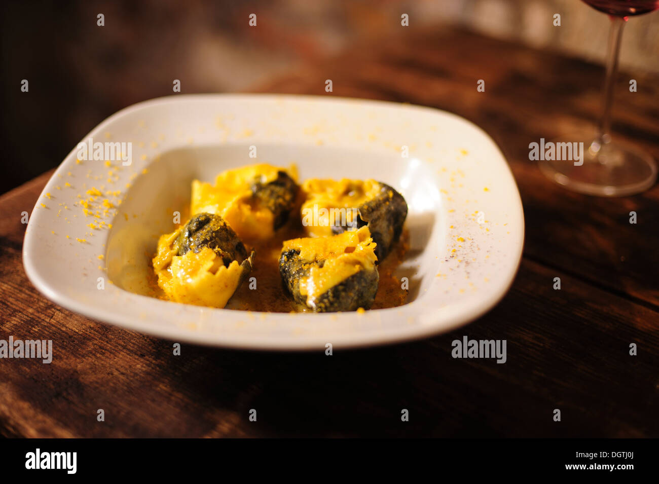 sea bass stuffed Tortellacci, La Mascareta Restaurant, Venice, Italy. - Stock Image