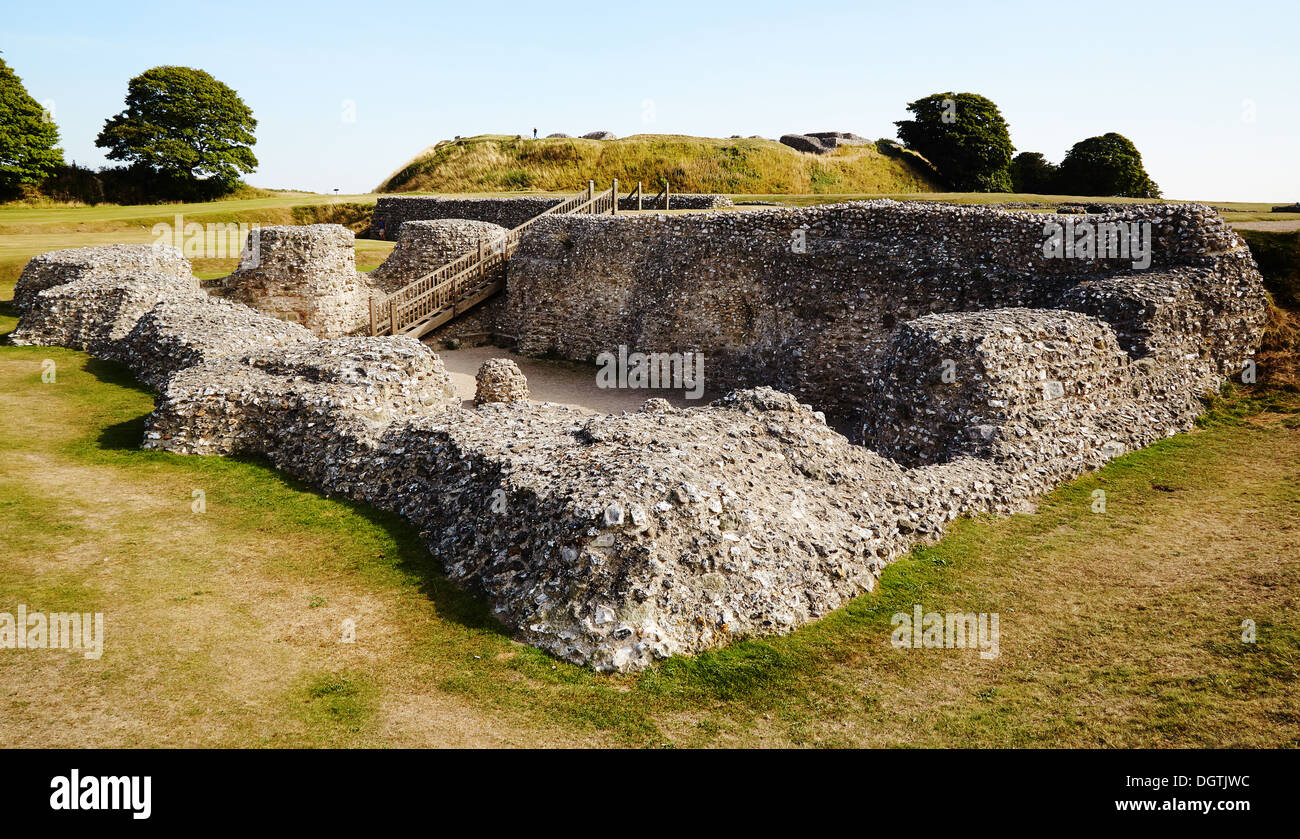 Cathedral ruins at Old Sarum near Salisbury Wiltshire UK a Norman castle and cathedral within an iron age hill fort Stock Photo