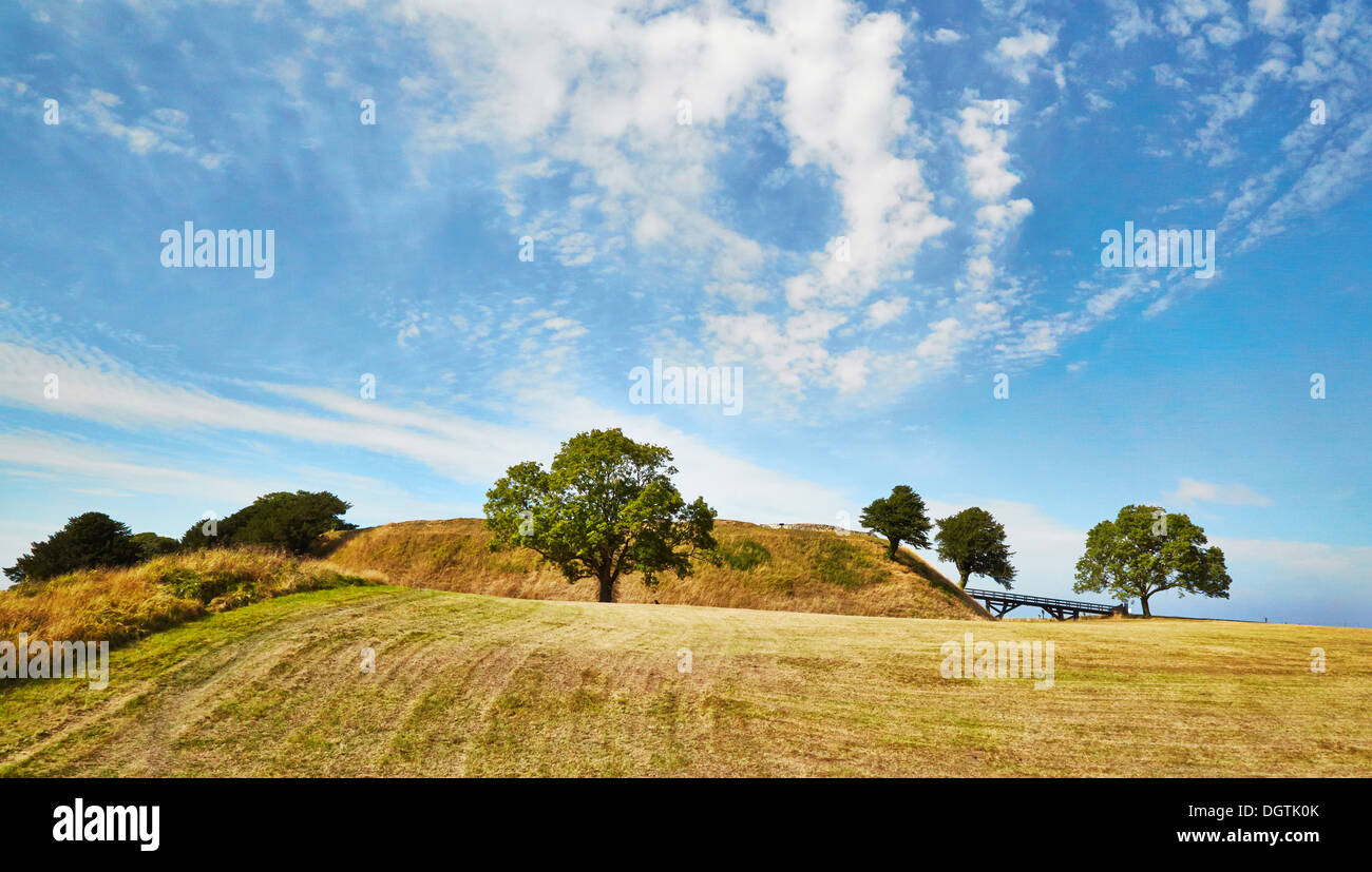 Castle mound at Old Sarum near Salisbury Wiltshire UK a Norman castle and cathedral within an iron age hill fort Stock Photo