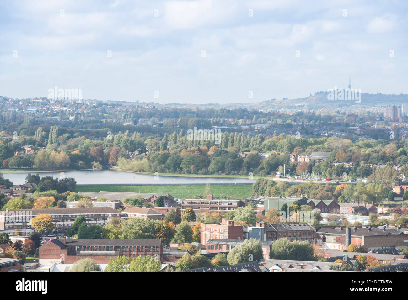 Edgbaston Reservoir, as seen from the city centre, Birmingham, West Midlands, England, UK - Stock Image