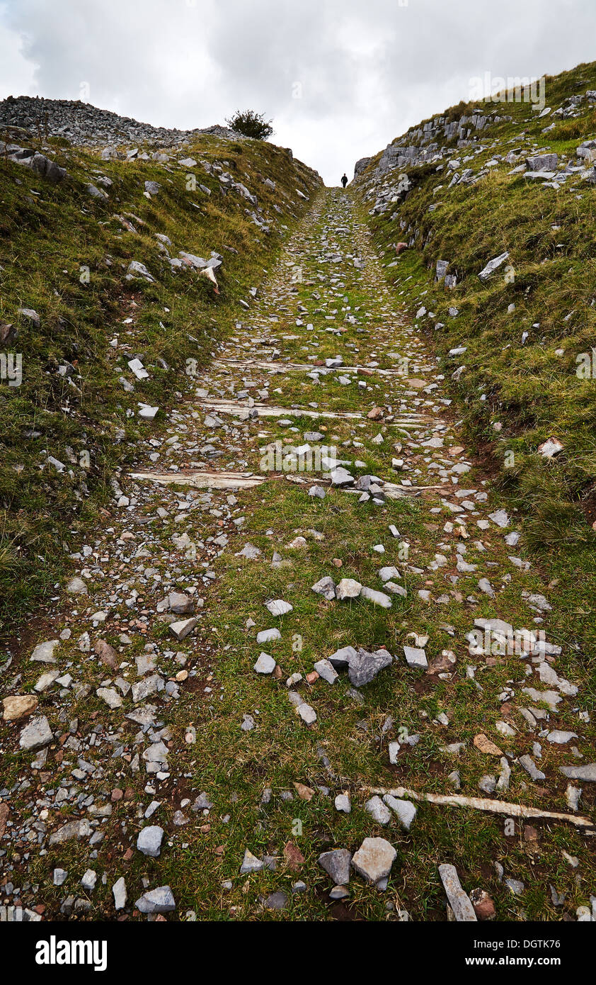 Steep incline of dismantled tramway at Penwyllt in the Swansea valley Brecon Beacons South Wales - Stock Image