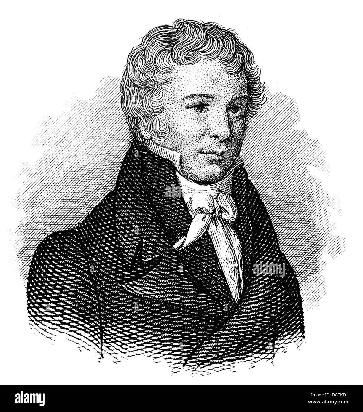 Friedrich Wilhelm Christian Carl Ferdinand von Humboldt, 1767 - 1835, a German scholar, statesman - Stock Image