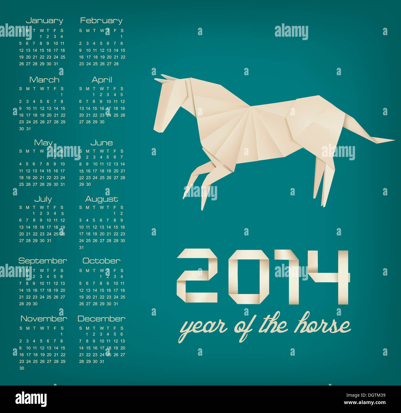 Retro Calendar For The Year 2014 Origami Horse Vector