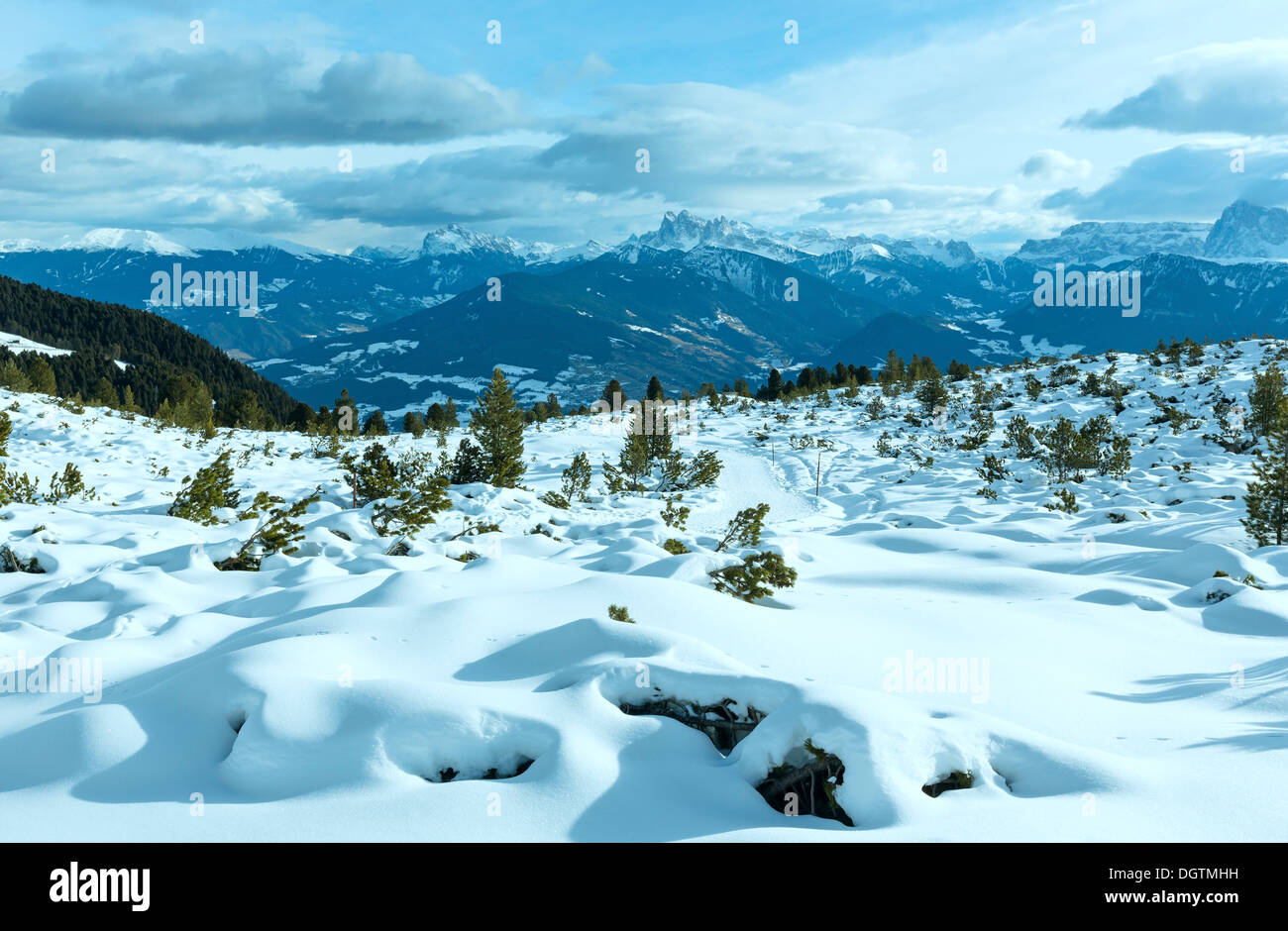 Beautiful winter mountain landscape . (Rittner Horn, Italy) - Stock Image