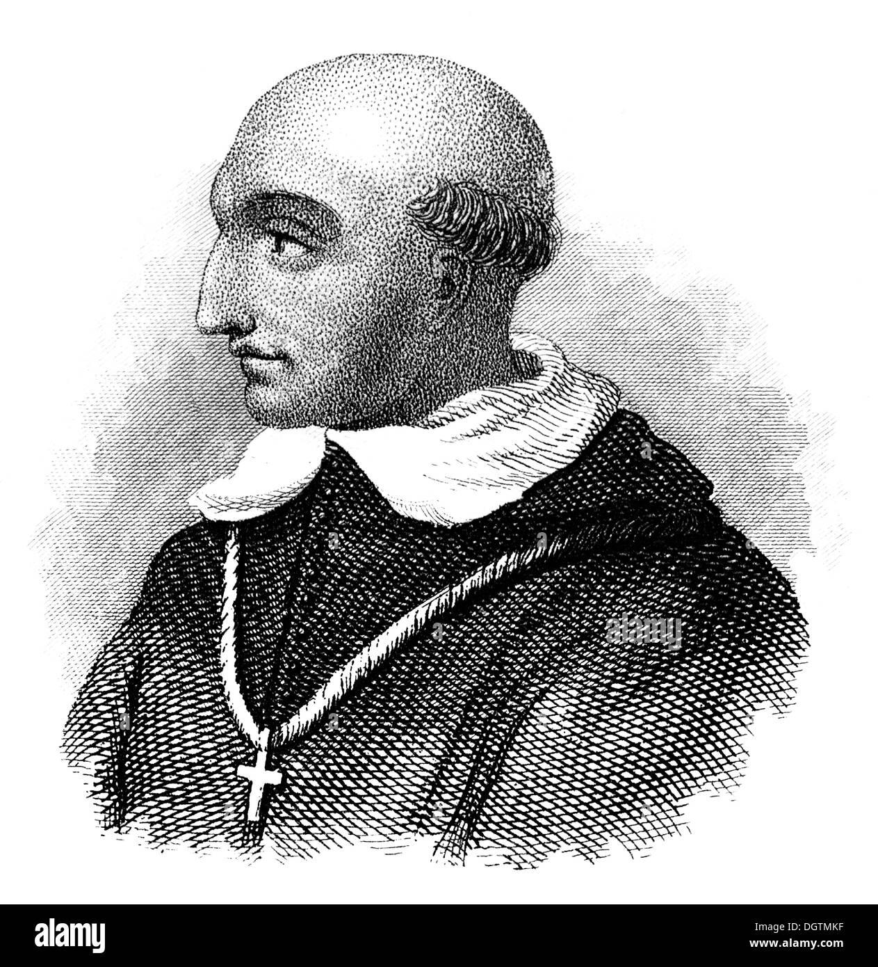 Bartolomé de las Casas, O.P., 1484 - 1566, a Spanish historian, social reformer and Dominican friar, Bishop of Chiapas - Stock Image