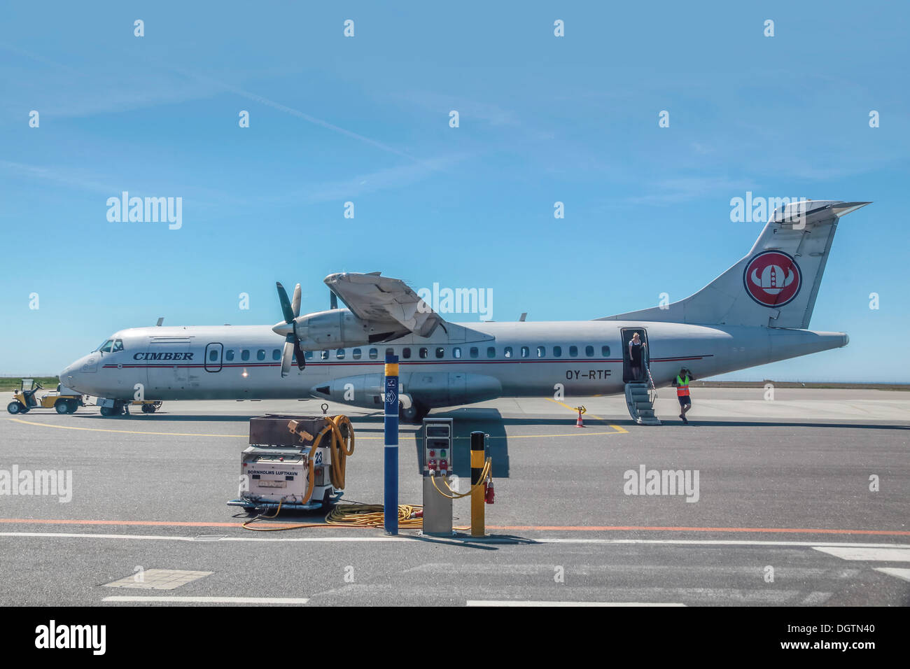 Plane of the airline Cimber Sterling on the airport of Ronne, Bornholm, Denmark - Stock Image